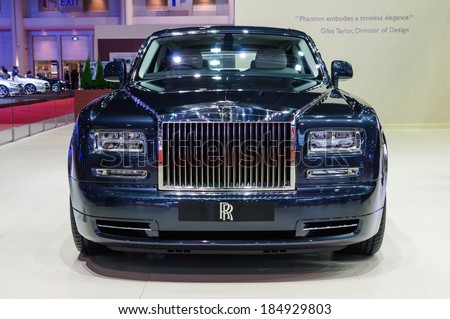 NONTHABURI, THAILAND - MARCH 25:The Rolls-Royce Phantom Extended Wheelbase is on display at the 35th Bangkok International Motor Show 2014 on March 25, 2014 in Nonthaburi, Thailand.  - stock photo