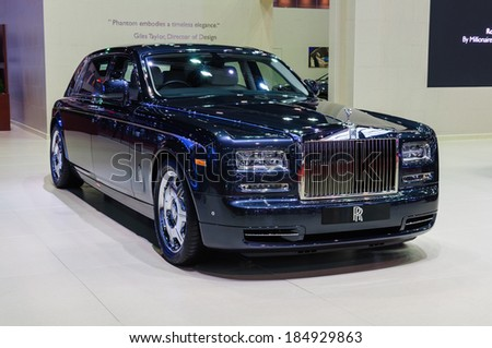 NONTHABURI, THAILAND - MARCH 31:The Rolls-Royce Phantom Extended Wheelbase is on display at the 35th Bangkok International Motor Show 2014 on March 31, 2014 in Nonthaburi, Thailand. - stock photo