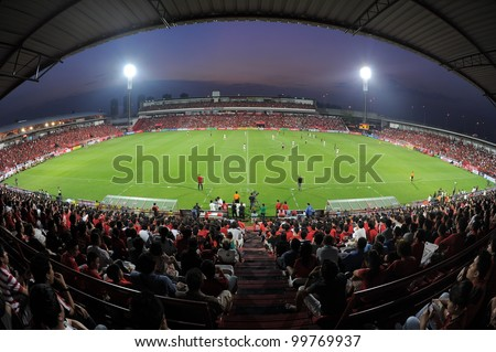 NONTHABURI THAILAND-March17:Unidentified supporters during  the match Thai Premier League between SCG MuangThong utd.and BEC Tero on March17,2012 in SCG Stadium Thailand - stock photo