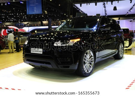 NONTHABURI, THAILAND - NOVEMBER 29:The Land Rover all-new Range Rover Sport is on display at the 30th Thailand International Motor Expo 2013 on November 29, 2013 in Nonthaburi, Thailand.  - stock photo