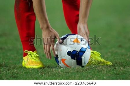 NONTHABURI THAILAND-SEPTEMBER 17:Details of ball during the AFC U-16 Championship between Australia and DPR Korea at Rajamangala Stadium on Sep17,2014,Thailand - stock photo