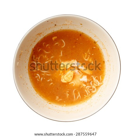 Noodle dirty dish isolated on white background. - stock photo