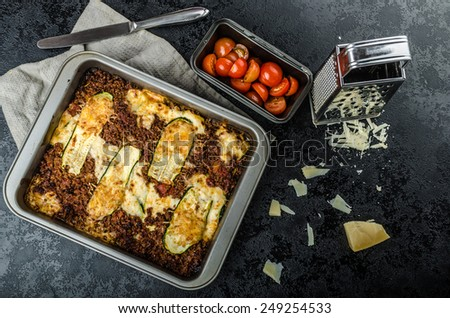 Noodle-Free Zucchini Ribbon Lasagna, with parmesan - stock photo