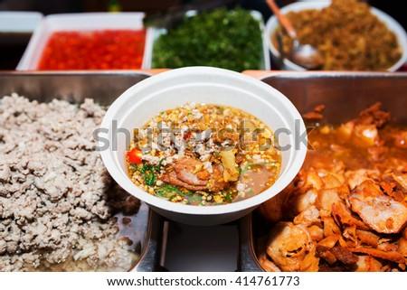 Noodle Pork Ribs tom yum flavor - stock photo