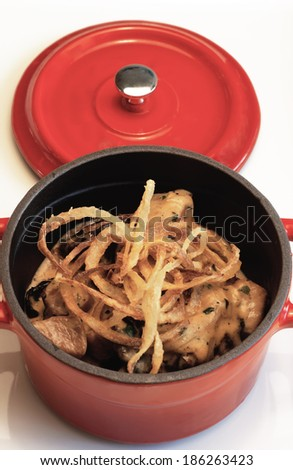 Noodle, red saucepan - stock photo