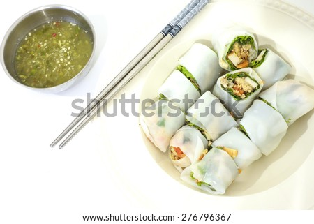 Noodle roll with vegetables - stock photo