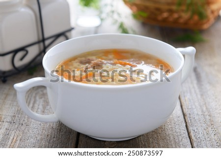 Noodle soup in white bowl - stock photo