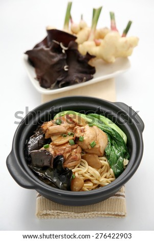 noodles and chicken on the background - stock photo