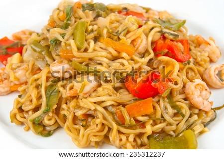 Noodles Japanese shirimps and vegetable Yakisoba - stock photo