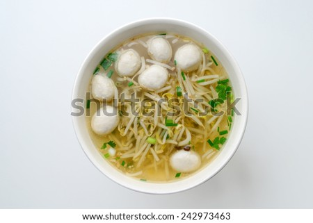 noodles soup with meat ball, bean sprouts - stock photo
