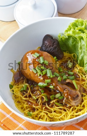 Noodles with chicken, Poppular food in china and thailand - stock photo