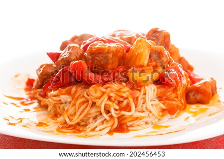 noodles with meat - stock photo