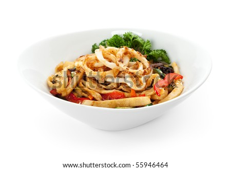 Noodles with Seafood, Cabbage, Mushrooms and Paprika - stock photo