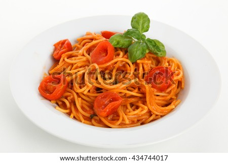 noodles with tomato - stock photo