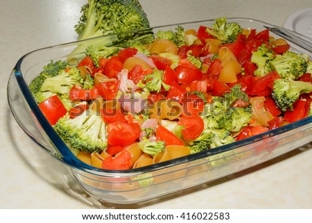 noodles with vegetables quickly prepared  - stock photo
