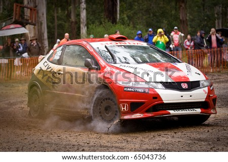 NOOJEE - NOVEMBER 13: Eli Evans and Glen Weston compete in the Australian Rally Championships at Rally Victoria, November 13, 2010, Noojee, Victoria, Australia. - stock photo