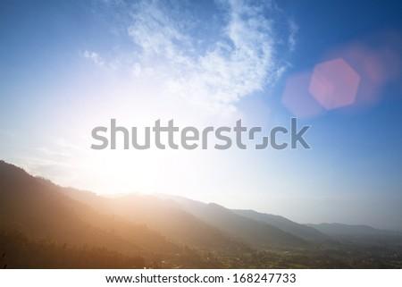 Noon in the Himalaya, Kathmandu valley, Nepal - stock photo