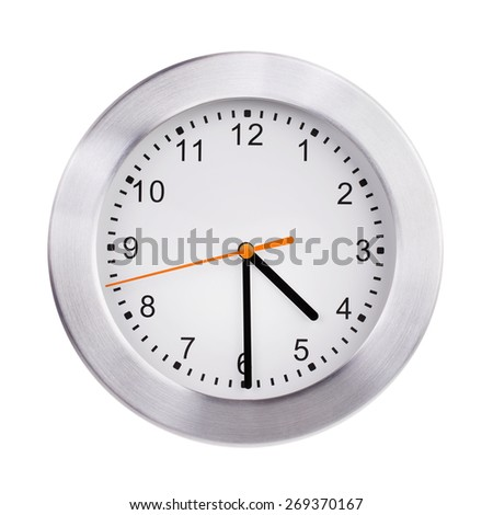 Noon on the dial of the large round clock - stock photo
