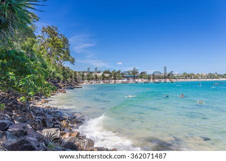 Noosa Heads main beach in Queensland - stock photo