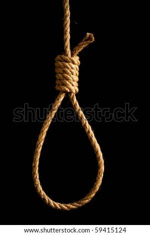 noose isolated on black - stock photo