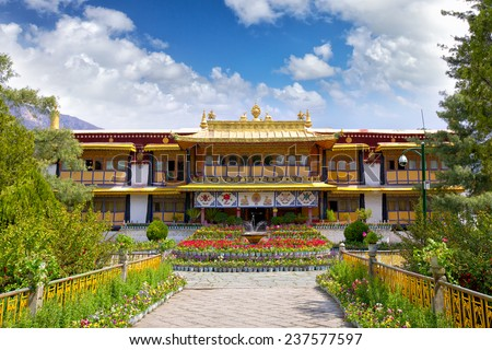 Norbulingka the Summer Palace of Dalai Lama, Lhasa, Tibet - stock photo