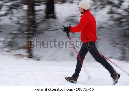 Nordic walking - stock photo