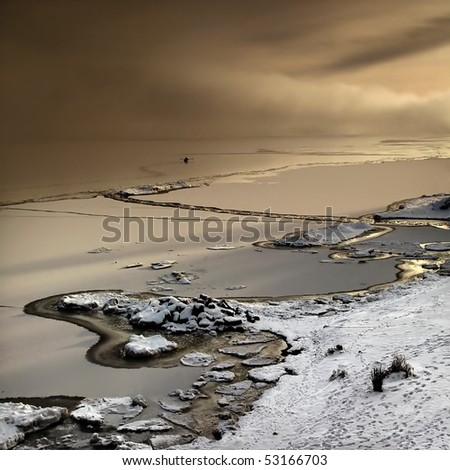 Nordic Winter Landscape with boat - stock photo