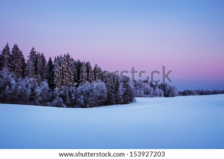 Nordic winter twilight - stock photo