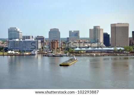 Norfolk city skyline and Elizabeth River, Virginia, USA - stock photo