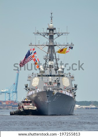 NORFOLK, VIRGINIA - JUNE 6:The guided missile destroyer USS COLE DDG67 cruises along the Elizabeth River in the Norfolk Harbor Fest Parade of Sail on June 6, 2014  in Norfolk, Virginia - stock photo