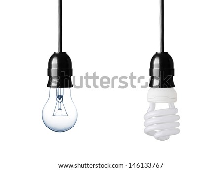Normal and energy saver lightbulb isolated on white - stock photo
