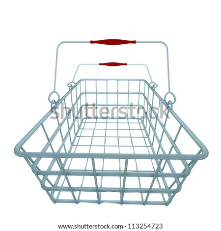 normal metal blue shopping hand basket in vector illustration in front perspective view - stock photo