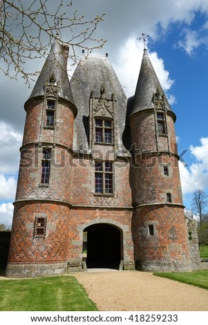 NORMANDY, FRANCE - MAY 5. Carrouges was built in the 14th century as a stronghold during the Hundred Years ?? War (a keep) in Normandy, France on May 5th, 2016..  - stock photo