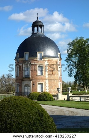 NORMANDY,FRANCE - MAY 5. The Chateau of Medavy is an 18th century castle with classical architecture inspired by Mansart in Normandy, France on May 5th, 2016. - stock photo