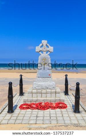 Normandy Landings Navy Memorial in Hermanville, France - stock photo