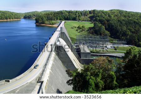 Norris Dam, a hydroelectric dam located in East Tennessee. - stock photo