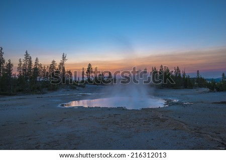 Norris Geyser Basin after Sunset Yellowstone National Park - stock photo