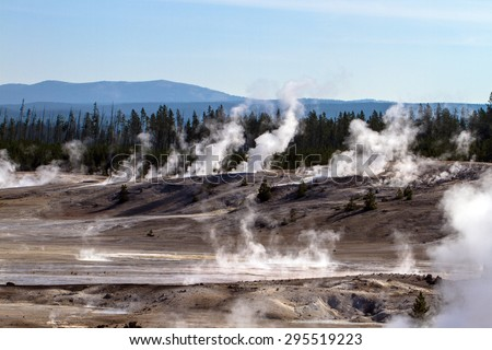 Norris Geyser Basin in Yellowstone National Park in Wyoming - stock photo