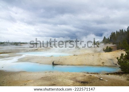 Norris Geyser Basin on a cloudy day. Yellowstone National Park USA - stock photo