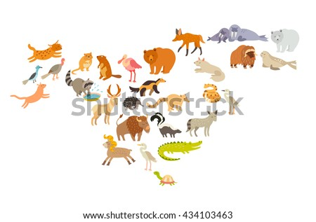 North America animals map. North American mammal map silhouettes. Isolated on white background illustration. Crocodile, raccoon, hedgehog and muskrat cartoon style. Colorful cartoon illustration. - stock photo
