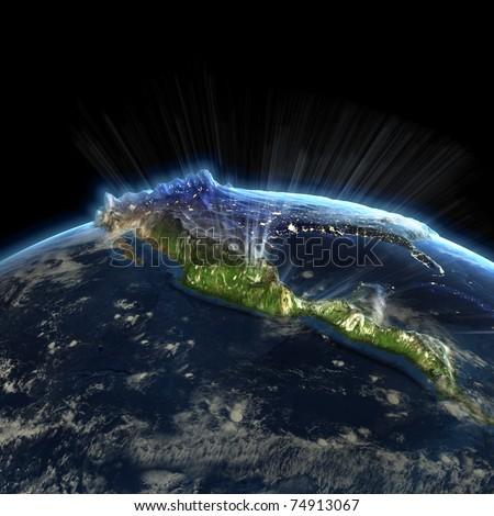 North America at night. Earth map from NASA - stock photo