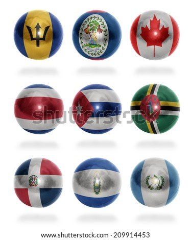 North America countries (From B to G) flag balls on a white background - stock photo