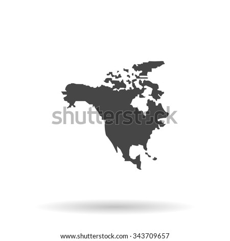 North America Map. Flat icon on grey background with shadow - stock photo