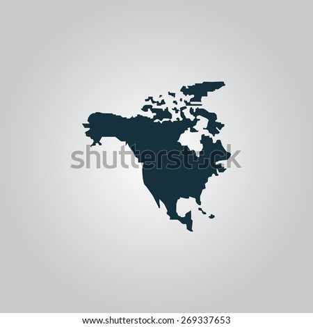 North America Map. Flat web icon, sign or button isolated on grey background. Collection modern trend concept design style illustration symbol - stock photo