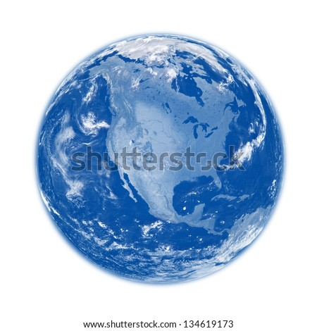 North America on blue planet Earth isolated on white background. Elements of this image furnished by NASA. - stock photo