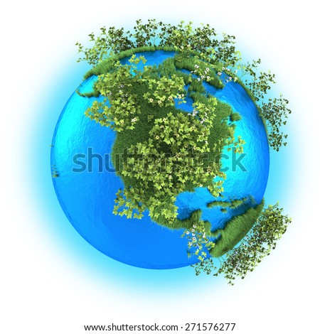 North America on grassy planet Earth with cotton isolated on white background - stock photo