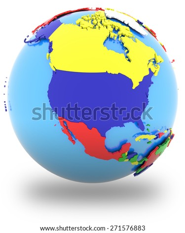 North America, political map of the world with countries in four colors, isolated on white background.  - stock photo
