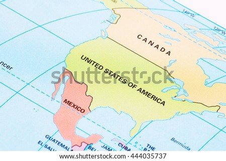 North America political map with labeling. - stock photo