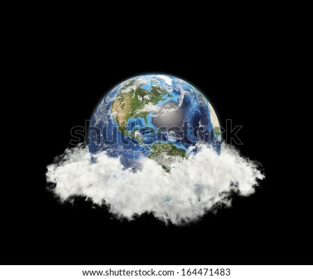 North America, South America in clouds.  Elements of this image furnished by NASA - stock photo