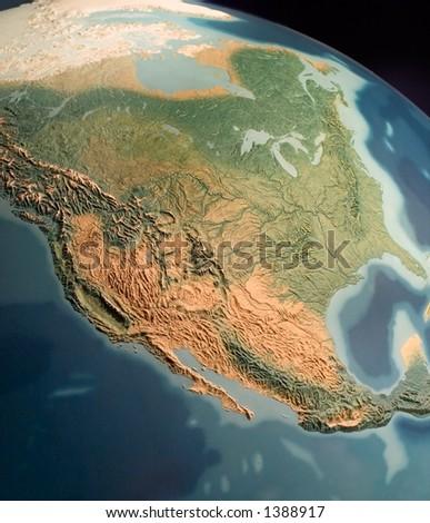 North America view on globus - stock photo